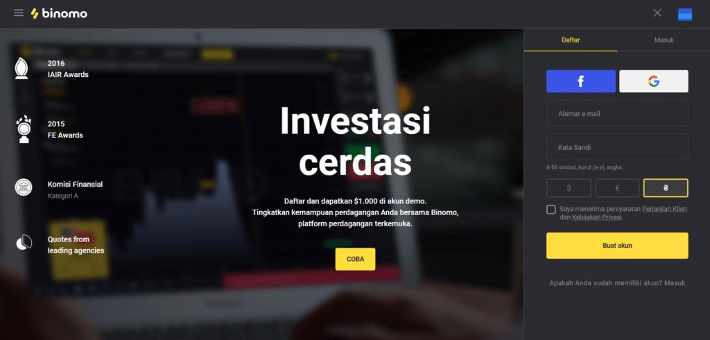 binomo login page indonesia