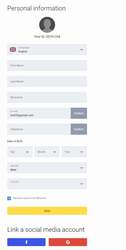 binomo registration account